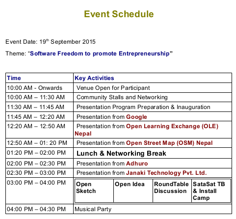 SFD2015 event schedule